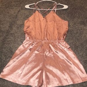 NWOT Satin blush romper